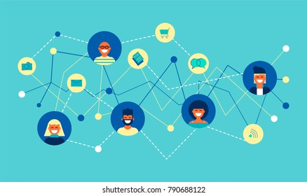 Social network connection concept illustration. Team of diverse people online doing internet activity connected to each other. EPS10 vector.