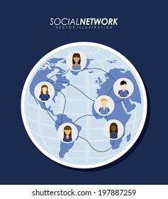 Social network design over blue background, vector illustration