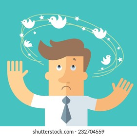 Social network dizziness. business metaphor illustration. business man with flying bird around his head.