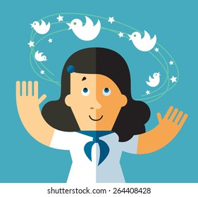 Social network dizziness. business metaphor illustration. business woman with flying bird around his head.