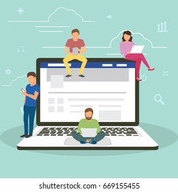 Social network facebook web site surfing concept illustration of young people using mobile gadgets such as smartphone, tablet pc and laptop part of online community. Flat guys,  women on big notebook