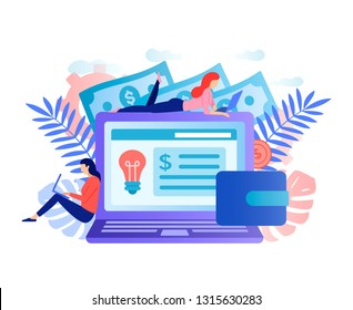 Social network, freelancer concept. Big laptop with girls. Girls blogger work in social media. Girls designers application. Female freelancers make money online. Virtual money vector flat concept.