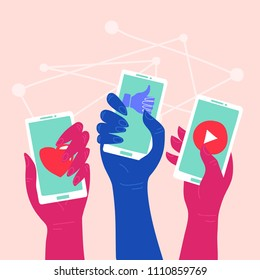 Social Network - Friends Interacting on Social Media People using different social platforms. Hands holding smartphones with social network apps icons. Online communication and connection.