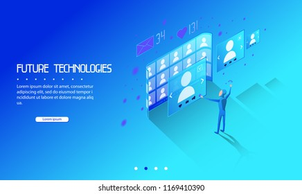 Social network of the future. A person works in a social network-see profiles of other users. Background for presentation. Template for web design and text. Isometric, 3D, flat style. Solid. Minimalis