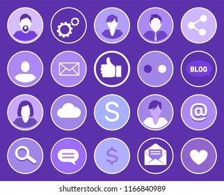 Social network gears and people man and woman isolated icons set. Message and thumb up, chat box and heart, dollar money currency, mail blog vector