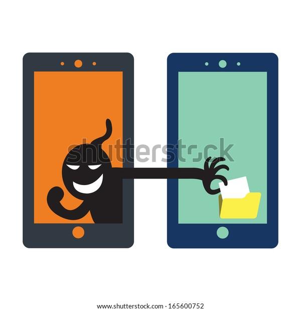 Social network hacker stealing data from file folder, criminal on smart phone.