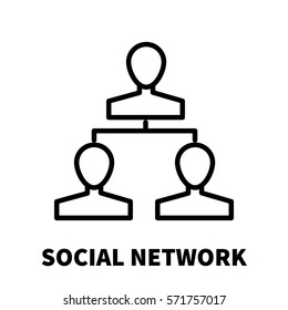Social network icon or logo in modern line style. High quality black outline pictogram for web site design and mobile apps. Vector illustration on a white background.