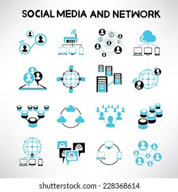 social network icons, network and communication icons, black and blue theme