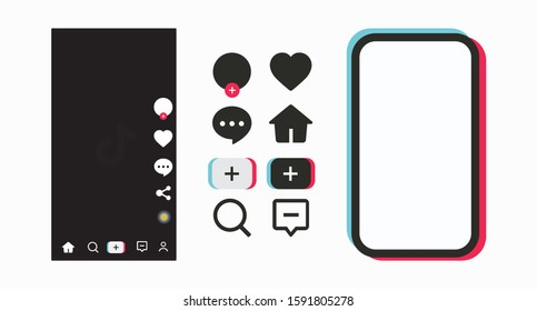 Set of Tik Tok social network icons in mobile phone color frame. Social media frame template mobile interface. Set of icons for social networking and blogging. Ready mobile vector of the form Tik Tok