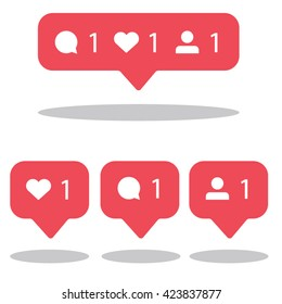 Social network icons pack. Like, comment, follow.