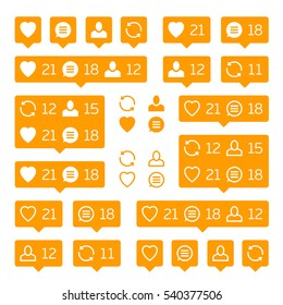 Social network icons pack on white background. Like, comment, follow and repost. Notification Tooltip with heart, user, speech bubble, counter. Orange social network icons pack.