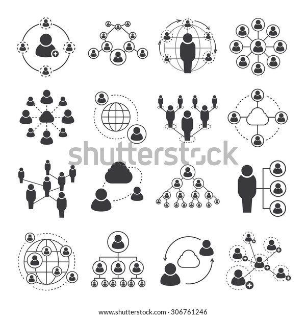 social network icons, people network icons