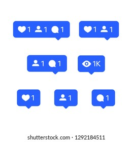 Social network icons set, tooltips, speech bubbles, likes, followers and subscribers and comments, vector illustration