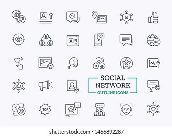 Social Network Icons Set. Vector Thin Line Elements of Profile, Connection, Information, Rating for Web Communication