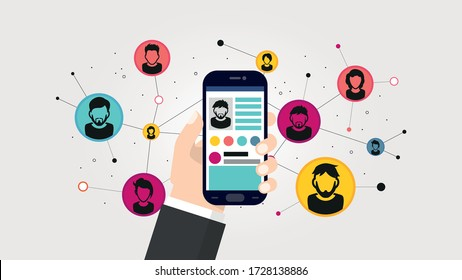 Social network illustration. Phone in a male hand on a background of a network of contacts. EPS 10 vector for use on web pages, in advertising, applications.