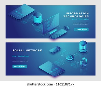 Social network and information concept. Landing page banner template. 3d isometric vector illustration.
