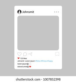 Social network interface frame with flat icons isolated on gray background. Photo frame Mockup. Useful for web site, marketing, ui and app. Modern vector illustration EPS10