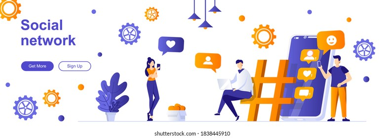 Social network landing page with people characters. Online messaging service web banner. chatting mobile application vector illustration. Flat concept great for social media promotional materials.