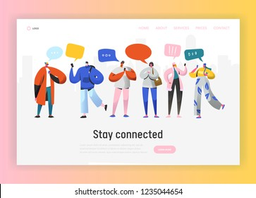 Social Network Landing Page Template. Group of Young People Characters Chatting Using Smartphone for Website or Web Page. Virtual Communication Concept. Vector illustration