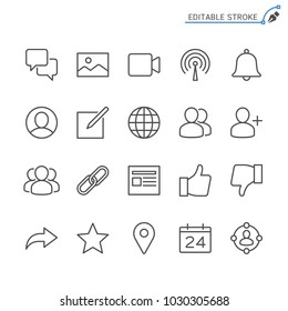 Social network line icons. Editable stroke. Pixel perfect.
