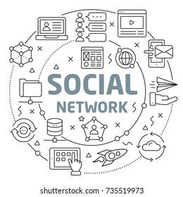 Social network Linear illustration slide for the presentation