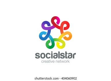 Social network Logo colorful design vector template. Seven point Infinity Looped star Logotype. Infinite shape concept Loop icon,
