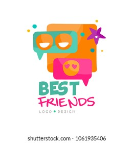 Social network logo template for best friends. Colorful speech bubbles with emoji. Vector design for mobile app or internet messenger