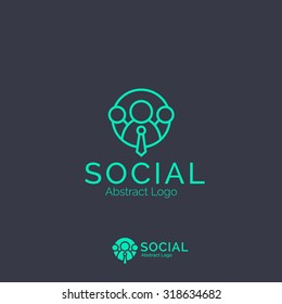 Social Network logo template. Team Community Partners Corporate branding identity