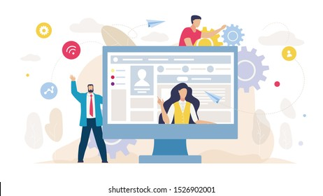 Social Network Management and Marketing. Cartoon Businessman, Female Coach and Male Developer Characters. Huge Computer Monitor with Woman Mentor on Screen. Video Tutorial. Vector Flat Illustration