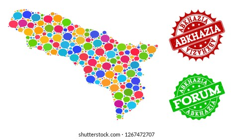 Social network map of Abkhazia and scratched stamp seals in red and green colors. Mosaic map of Abkhazia is created with communication clouds. Abstract design elements for social network purposes.