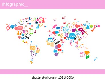Social network map background info graphics