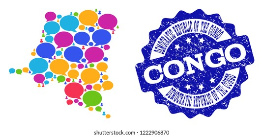 Social network map of Democratic Republic of the Congo and blue rubber stamp seal. Mosaic map of Democratic Republic of the Congo is designed with media clouds.