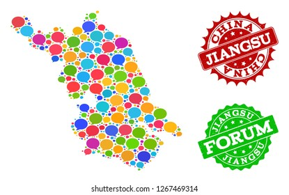 Social network Map of Jiangsu Province and grunge stamp seals in red and green colors. Mosaic Map of Jiangsu Province is designed with communication messages.
