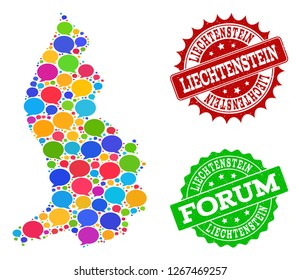 Social network map of Liechtenstein and rubber stamp seals in red and green colors. Mosaic map of Liechtenstein is composed with word clouds. Abstract design elements for social network illustrations.