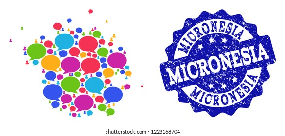 Social network map of Micronesia island and blue grunge stamp seal. Mosaic map of Micronesia island is designed with comment messages. Abstract design elements for social network posters.