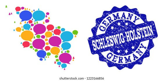 Social network map of Schleswig-Holstein State and blue rubber stamp seal. Mosaic map of Schleswig-Holstein State is composed with voice messages. Abstract design elements for social posters.