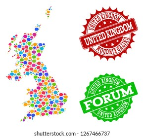 Social network map of United Kingdom and distress stamp seals in red and green colors. Mosaic map of United Kingdom is created with SMS clouds. Flat design elements for social network purposes.