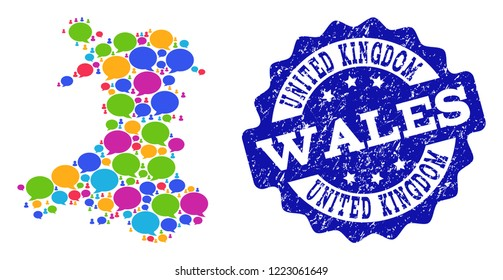 Social network map of Wales and blue distress stamp seal. Mosaic map of Wales is formed with conversation bubbles. Abstract design elements for social network projects.