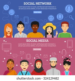 Social network and media horizontal banners set with different nationalities flat isolated vector illustration