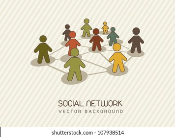 social network with men icons, vintage. vector illustration