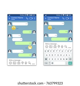 Social network or messenger application template with and without virtual keyboard for mobile devices. Chat or sms app interface concept. Vector illustration