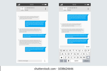 Social network Messenger concept frame Vector illustration. Mobile ui kit messenger. Chat app template whith mobile keyboard. Social network concept. Vector illustration
