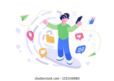 Social network mobile phone communication vector illustration. Boy holding modern gadget with opened app with profile or account. Likes messages thumb up geolocation pin icons