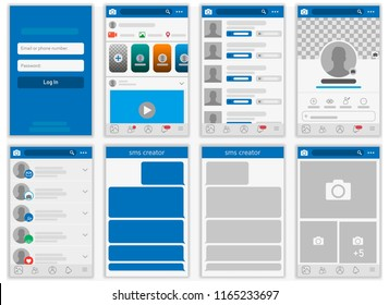 Social network Mock up, post frames and other pages vector illustration.