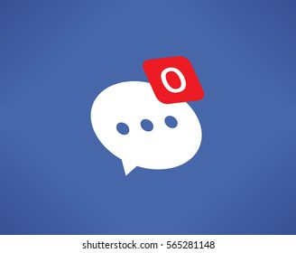 Social network new chat message (comment) notification icon with 0 (null) messages symbol on screen. Idea - Friendship and communication, Online messaging, loneliness, solitude in Internet concepts.