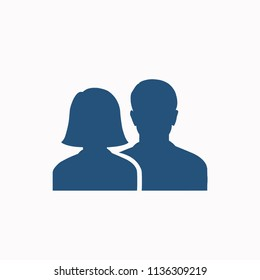 Social network notification icon. Friends girl and boy silhouette  Notifications on screen. Online icon . Vector illustration.