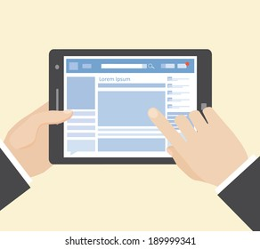 social network on tablet computer with hands, vector eps10 illustration