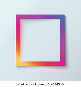 Social network paper photo frame isolated inspired by instagram. Colorful design border for photos with shadow. Realistic vector illustration