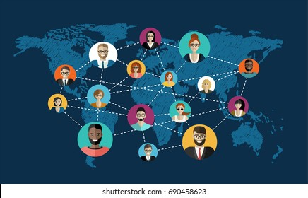 Social network, people connecting all over the world. Vector flat illustration.