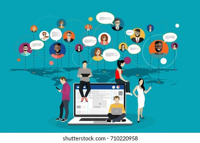 Social network, people connecting all over the world. Concepts web banner and printed materials.